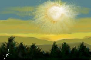 naplemente hegyek felett